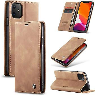 iPhone 12 Pro Max Case Light Brown 6.7 inch - Retro Wallet Slim - Wallet Protective Case - Soft Leather - 360° Protection - Kickstand Phone Holder - 2 Card Holder - Letter Money Slot
