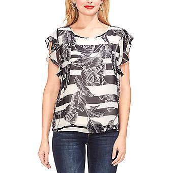 Vince Camuto | Flutter Sleeve Tropical Shadows Top