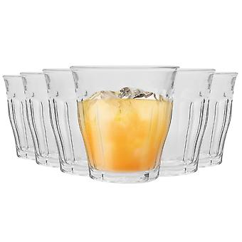 Duralex Picardie Drinking Glasses - 220ml Tumblers for Water, Juice - Clear - Pack of 6