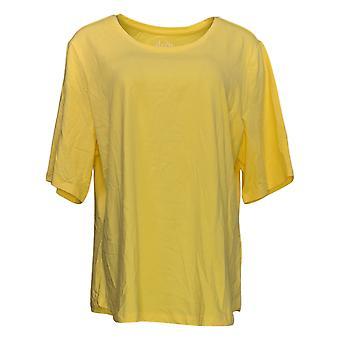 Denim & Co. Women's Top Elbow Sleeve Yellow A302899