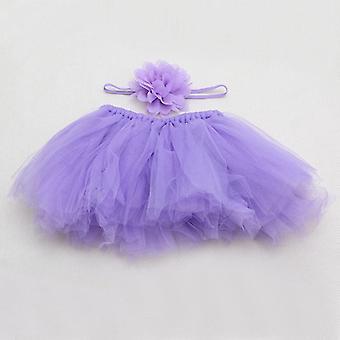 Newborn Baby Girls Tutu Skirt & Headband Photo Prop Costume Kids Outfit Short