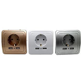 Smart Home Best Dual Usb Port 2000ma Ścienne Ładowarki Adapter 16a Eu Standard Elektryczne Gniazdo Wtykowe Panel