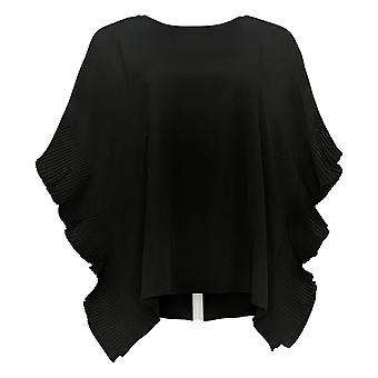 DG2 por Diane Gilman Women's Top Pleated Poncho Blouse Black 697-478