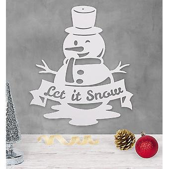 Let It Snow, Snowman - Metal Wall Art/decor
