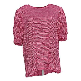DG2 by Diane Gilman Women's Top Pink Tunic Polyester Short Sleeve 721-456