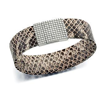 Fiorelli Mode Brun Orm Hud Läder Magentic Clasp armband 20.5cm
