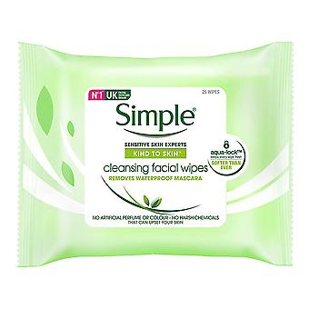 Simple Cleansing Facial Wipes Waterproof Make Up Remover 25 Wipes x 3