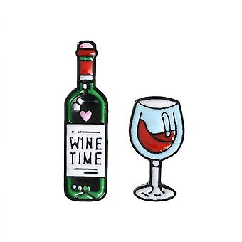 Wine Glasses Couple Pins Red Wine Bottle Cup Enamel Pin Badge