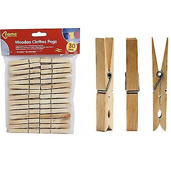 Pack de 30 líneas de lavado de ropa de madera Pegs