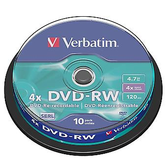 Verbatim Dvd-rw 4.7gb 10pk Husillo 4x Marca Rewritable Media Disc Dvd 43552