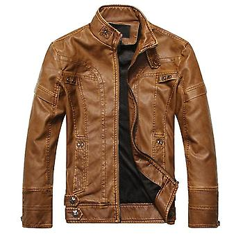 Men's Leather Jackets, Motorcycle Pu Male Autumn Casual Leather Coats, Slim Fit