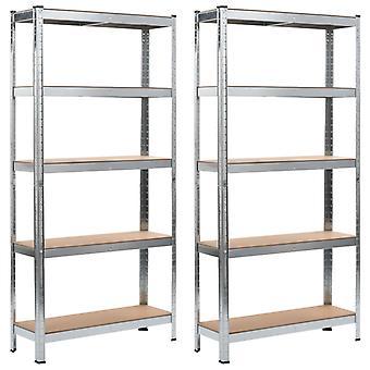Opbevaringshylder 2 stk. sølv 90 x 30 x 180 cm stål og MDF