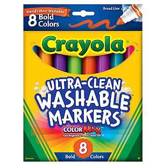 Marqueurs lavables ultra-propres Crayola, large ligne, couleurs vives, 8 count