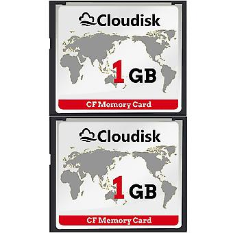 Cloudisk 2x compact flash 1gb cf memory card performance for vintage digital camera (2pcs 1 gb) 2x 1