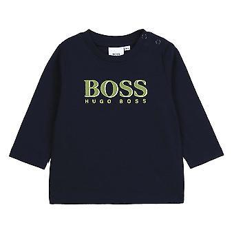 Hugo boss baby pojkar marinblå långärmad t-shirt j05795