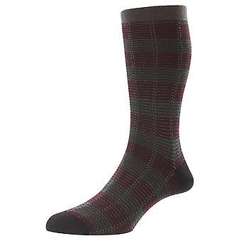Pantherella Highgrove Jacquard Check Wool Socks - Dark Grey