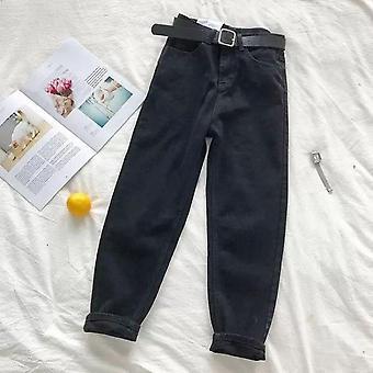 וינטג מותניים גבוהות ג'ינס נשים מוצק ישר מכנסיים רופף רחוב גבוה מזדמנים