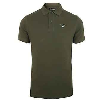 Barbour mens dark olive sports polo shirt