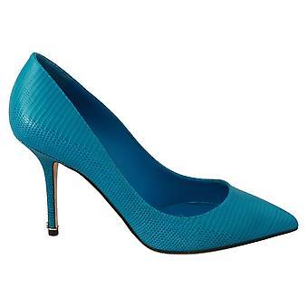 Blue Leather Classic Heels Pumps Shoes