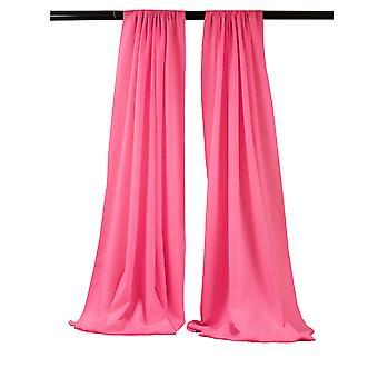 La Linen Pack-2 Polyester Poplin Backdrop Drape 96-Inch Wide By 58-Inch High, Hot Pink