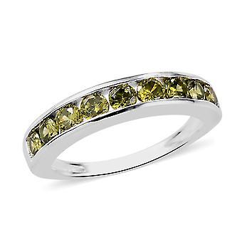 Elanza grün Zirkonia halbe Ewigkeit Ring in Silber Geschenk für Frau 9,45 ct