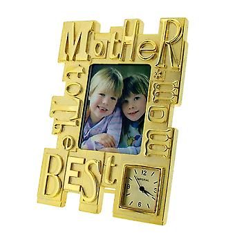 GTP To The Best Mom/Mother Photo Frame Chrome Plated on Alloy Novelty Desktop Collectors Miniature Clock IMP418G