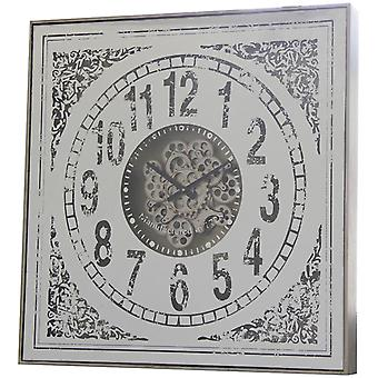 82cm Large Square Persian Mirrored moving cogs Clock
