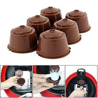 6pcs aptos para dolce gusto taza de filtro de café filtros reutilizables cápsula de café para Nespresso con cuchara cepillo accesorios de cocina