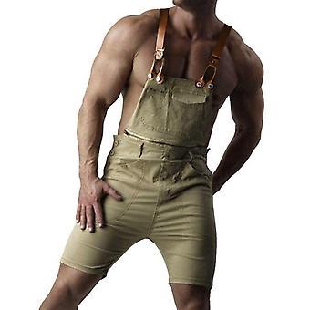 YANGFAN Mens Denim Bib Overall Shorts