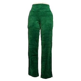 Quacker Factory Women's Leggings Soothing Velour Green A385996