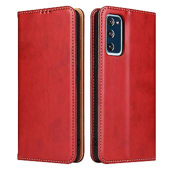 Para Samsung Galaxy S20 FE (Fan Edition) Case Leather Flip Wallet Capa vermelha