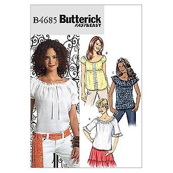 Butterick ompelu kuviot 4685 Misses Top Size BB (8-10-12-14)