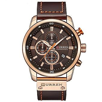 CURREN M8291 Chronograph Watches Casual Leather Watch for Men(Rose case coffee face)