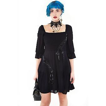 Jawbreaker Clothing Smocked Flare Dress With Satin Ribbon Detailing
