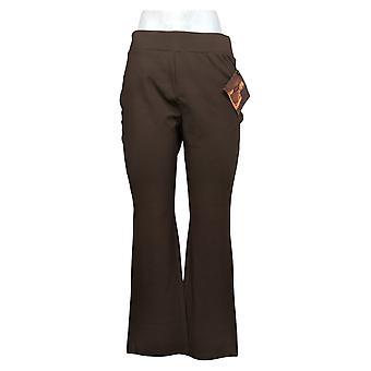 IMAN Global Chic Women's MP 360 Slim Ponte Boot-Cut Pant Brown 722609208
