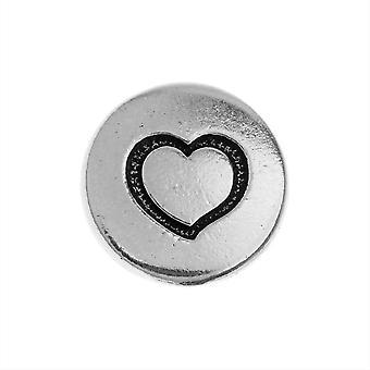 TierraCast Pewter -painike, pyöreä sydänsuunnittelu 12mm halkaisija, 1 kpl, antiikkinen hopeapinnoitettu