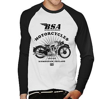 BSA Motorcycles 1910 Birmingham England Men's Baseball Long Sleeved T-Shirt