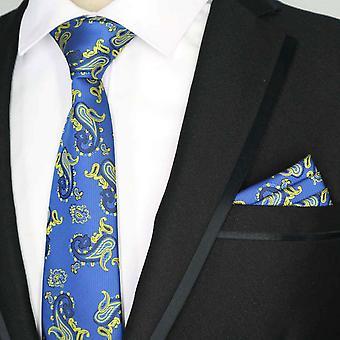 Sininen & vaaleankeltainen Paisley tasku neliön & kravatti asetettu