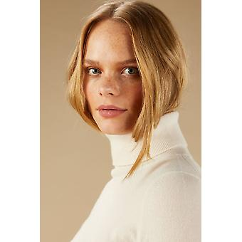 Loop Cashmere Polo Neck Sweater In Snow