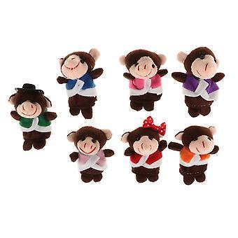 Monkeys Animal Finger Puppets Soft Plush Dolls Props For Story Telling