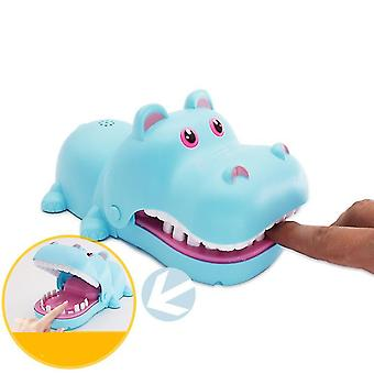 With light and sound blue hand-bite hippo parent-child interaction electric bite hippo teeth extraction children's tricky toy az5335