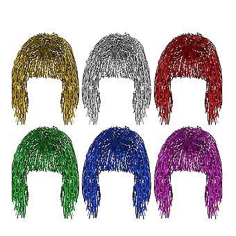 33X23cm como mostrado 6pcs peruca colorida de alta temperatura fibra de cabelo peruca moda mulheres headwear para uso diário (vermelho+branco+branco +vermelho+azul+roxo+verde) dt3430