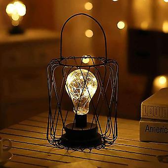dekorative natt lampe natt lyspære retro batteri drevet metall bord lampe bord lampe dekorasjon lampe (lanterne)