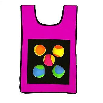 Crianças Sticky Jersey Vest 5 Pcs Sticky Throwing Balls (Rosa)