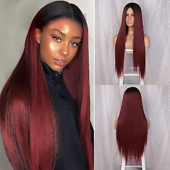 Long straight ombre red synthetic wigs  middle part 26 inch heat resistant synthetic cosplay wig