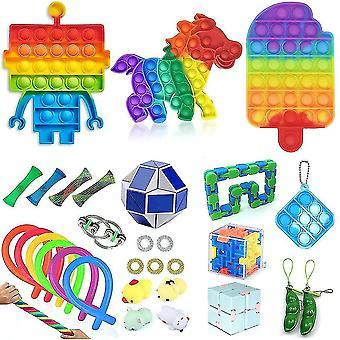 30pcs Brinquedos anti estresse definir crianças fidget brinquedos empurrar bolha pop