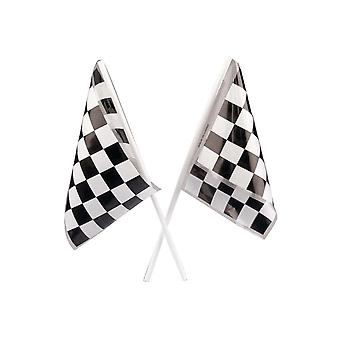 LAST FEW - 12 Plastic Chequered Racing Flag for Party Bags
