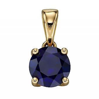 HS Johnson HSJ-GP2196 Women's 9ct Gold Sapphire Birthstone Pendant With Chain
