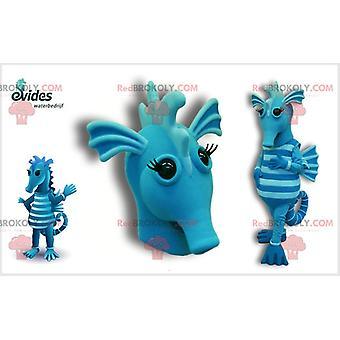 Maskottchen REDBROKOLY.COM blau und hellblauen Seepferdchen.Maskottchen REDBROKOLY.COM des Meeres