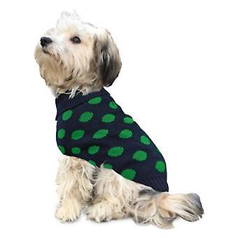 Fashion Pet Contrast Dot Dog Sweater Green - X-Large